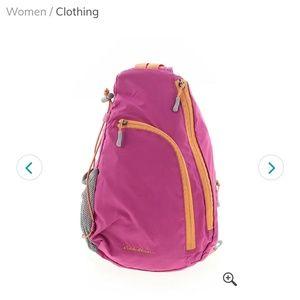 Eddie Bauer crossbody swing backpack pink/orange